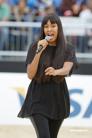 Singer–songwriter VV Brown entertains the crowd at Visa FIVB Beach Volleyball