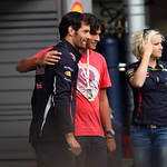 Mark Webber has his photograph taken with a fan at the Red Bull garage, Pit Walk Day, Spa Francorchamps, Thursday 30th August 2012.