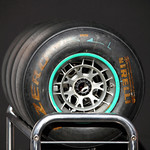Michael Schumacher's tyres, Mercedes Team garage, Pit Walk Day, Spa Francorchamps, Thursday 30th August 2012.