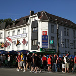 Fans gather outside the Spa Francorchamps Racing Hotel, 1st September 2012