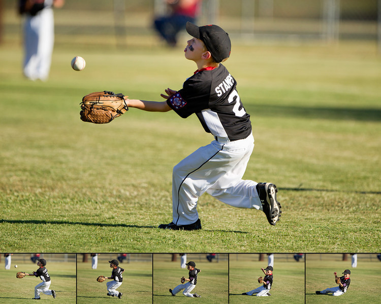 """Concentration""<br /> <br /> Stamps make a great sliding catch for an out at a critical point in the game."
