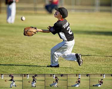 """""""Concentration""""  Stamps make a great sliding catch for an out at a critical point in the game."""