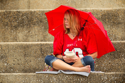 Dedicated Central fans showed up early and prepared for the rain.