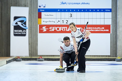 Jayne and Fraser in Tallinn playing Mixed Doubles.  I hope the event photographer won't mind....