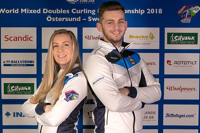 Representing Scotland at 2018 World Mixed Doubles at Ostersund, Sweden.  Official photograph courtesy of World Curling Federation