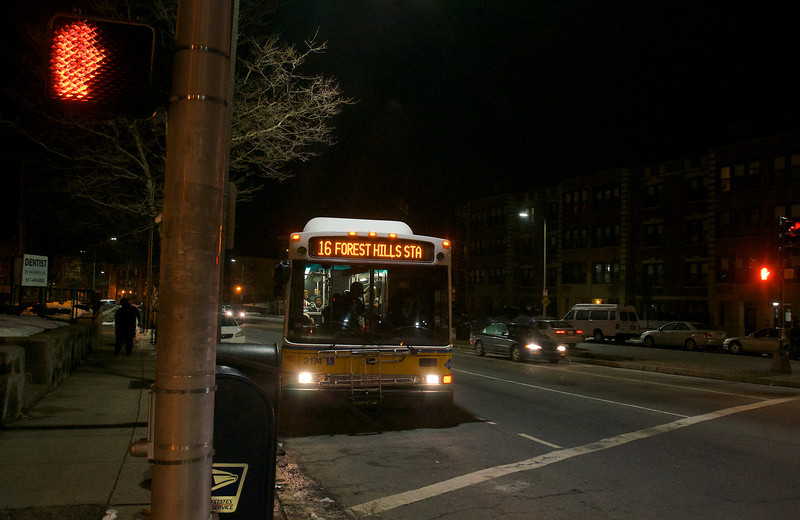 031013, Boston, MA - The Number 16 bus arrives at the intersection of Columbia Road and Geneva Avenue, where a MBTA bus driver was assaulted by several people. Herald photo by Ryan Hutton