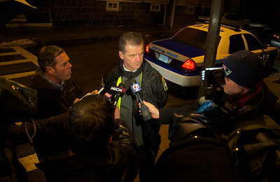 011113, Roxbury, MA - Boston Police Superintendent Kevin Buckley gives a statement to the press and answers questions about the shooting near the intersection of Humboldt Avenue and Homestead Street. Herald photo by Ryan Hutton