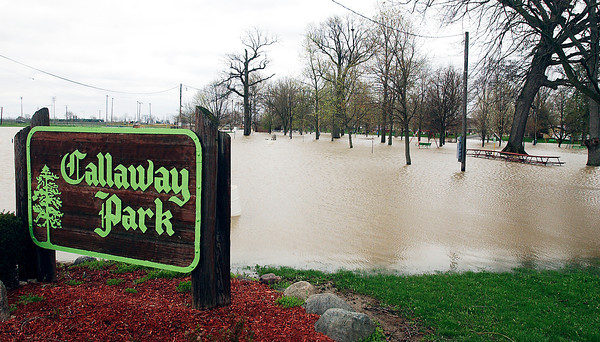 Flooding waters in Elwood along Big Duck Creek.
