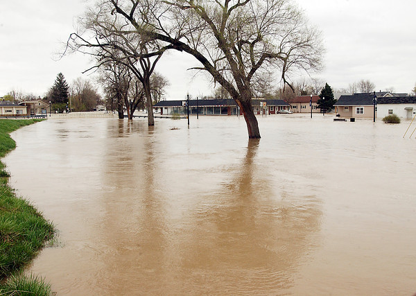 Big Duck Creek spilled out of it's banks and took over Willkie Park and a large stretch of North Anderson Street.