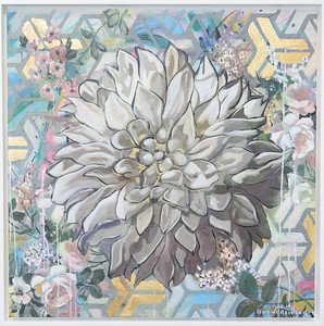 "Mark Boomershine ""White Dahlia"" Framed 36 x 36 $3,500"