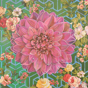 "Mark Boomershine ""Pink Dahlia"" 42 x 42 $4,000"