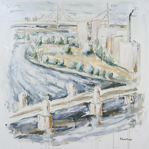 "Sarah Robertson ""River Charles, Boston"" 40 x 40 $2,000"