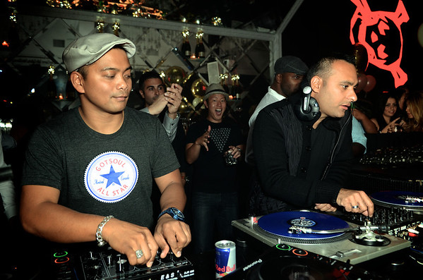 """Russell Peters spinning with Jojo Flores on Friday @ Maison Mercer following the release of his film """"Breakaway"""" @ The Toronto International Film Festival"""