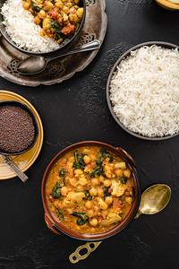 Chickpea Stew with Cauliflower & Spinach in a mustard Sauce
