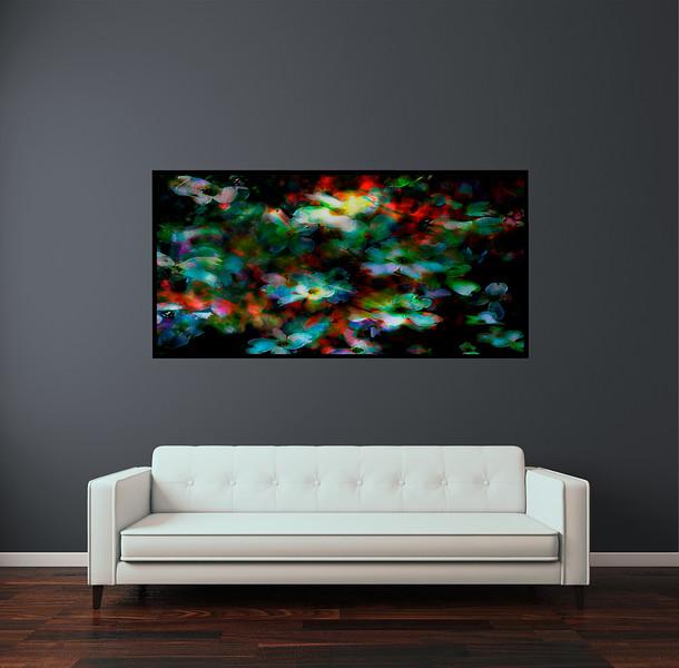 "Dogwood in 60""x30"" Black Aluminum Artbox Frame with Matt Acrylic Glass"