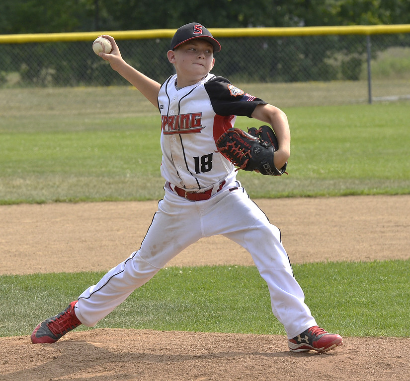 . STAN HUDY - SHUDY@DIGITALFIRSTMEDIA.COMSpring Renegades reliever Alex Halwick fires towards the plate in the fourth inning against Saratoga-Wilton during the Eastern New York State Cal RIpken tournament at Indian Meadows Park in Glenville.