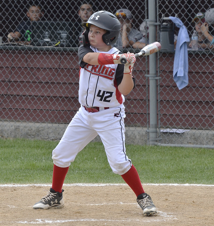. STAN HUDY - SHUDY@DIGITALFIRSTMEDIA.COMSpring Renegades batter Nick Kraz was as determined at the plate as he was on the mound starting against  Saratoga-Wilton in the Eastern New York State Cal RIpken tournament at Indian Meadows Park in Glenville.