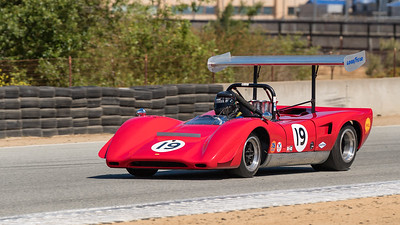 Greg Mitchell in 1969 Lola 163 CanAm car - stacks & wings