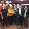 Schapiro Cup winners - Andrew Robson, Mike Bell, David Gold, (event sponsor Helen Schapiro), Alexander Allfrey, Tony Forrester, David Bakhshi