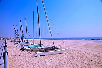 Catamarans on the beach in Spring Lake