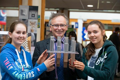 30/03/2019. FREE TO USE IMAGE. Thousands of CAO, part-time and postgraduate applicants visited WIT's Spring open events on Friday evening and Saturday morning. WIT is Ireland's top ranked institute of technology. Pictured are Eimear Neville and Ciara Dowling with Prof Willie Donnelly President of WIT. Picture: Patrick Browne