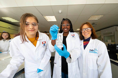 30/03/2019. FREE TO USE IMAGE. Thousands of CAO, part-time and postgraduate applicants visited WIT's Spring open events on Friday evening and Saturday morning. WIT is Ireland's top ranked institute of technology. Pictured are Musa Ncube and Evelina Ziznevska from Waterford City with Helen Hughes WIT. Picture: Patrick Browne