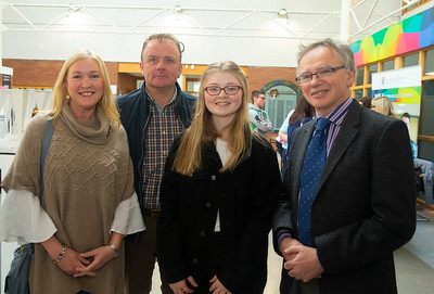 30/03/2019. FREE TO USE IMAGE. Thousands of CAO, part-time and postgraduate applicants visited WIT's Spring open events on Friday evening and Saturday morning. WIT is Ireland's top ranked institute of technology. Pictured are Michele, George and Hannah Walsh from Waterford city with Prof Willie Donnelly President of WIT. Picture: Patrick Browne