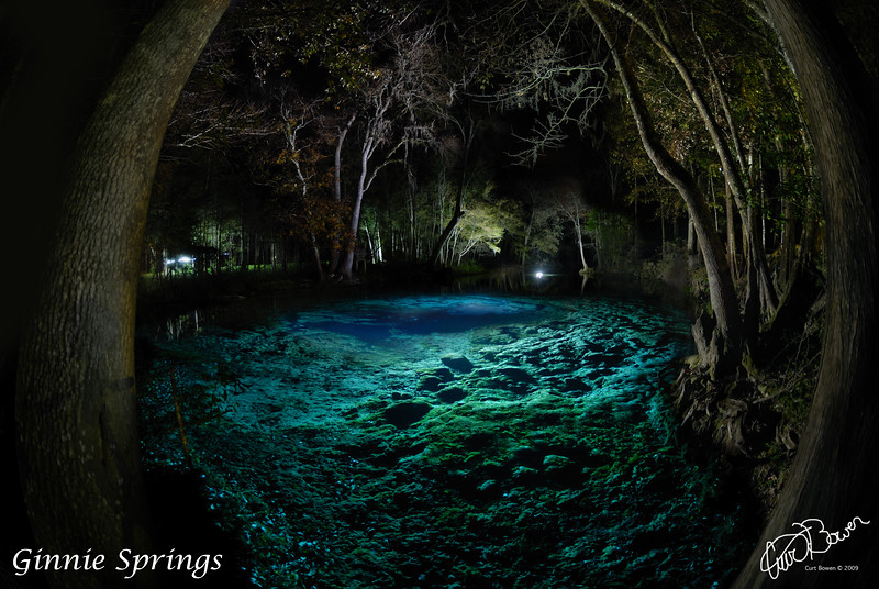 Night time exposure light painting of Ginnie Springs cavern area. (Ginnie Springs)<br /> Assistance by Dee McHenry and David Ulloa