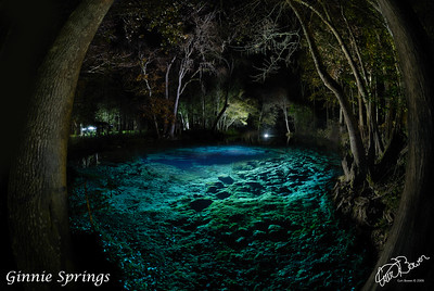 Night time exposure light painting of Ginnie Springs cavern area. (Ginnie Springs) Assistance by Dee McHenry and David Ulloa