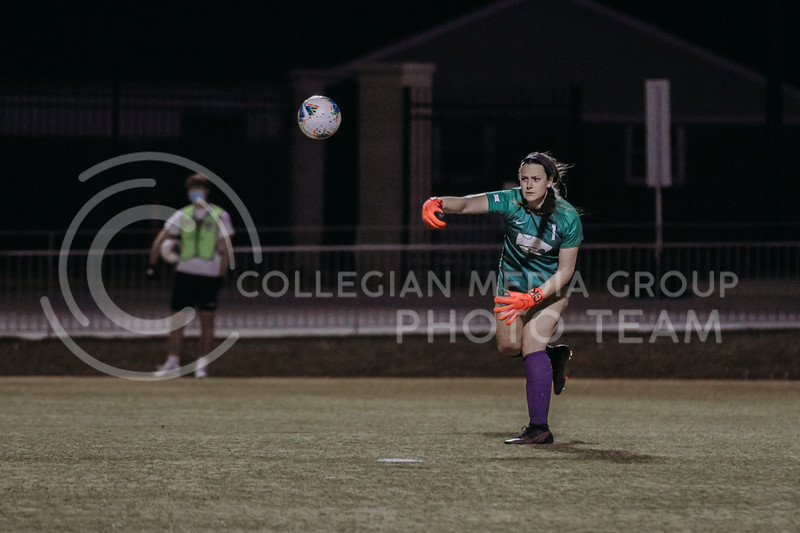 Freshman goalkeeper Alaina Werremeyer throws a saved ball to a teammate during the March 6, 2021 game against KU. (Sophie Osborn | Collegian Media Group)
