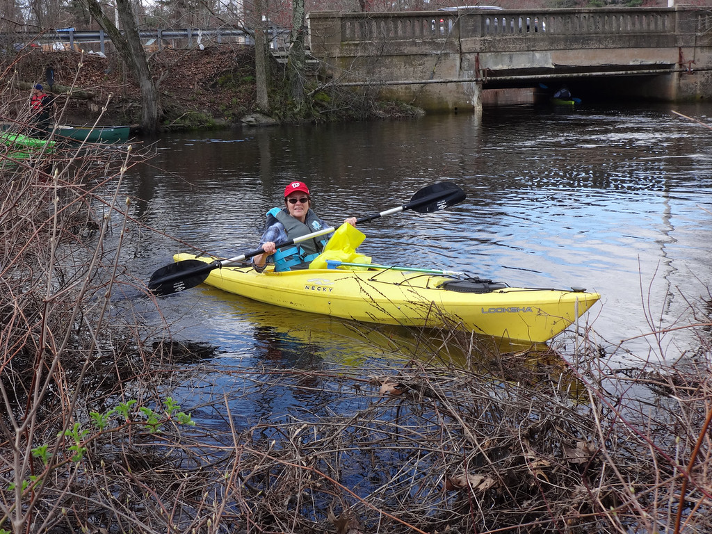 . Linda Vierboom of Billerica cleaned up in the Shawsheen River in the Pinehurst are of Billerica. Photo by Mary Leach