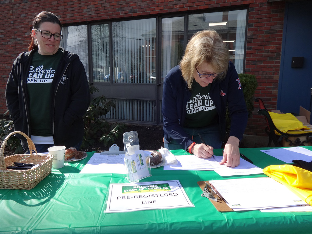 . Christine McLaughlin and Cathy Coneeny, both of Billerica, registered participants at the annual Clean up Green Up event. Photo by Mary Leach