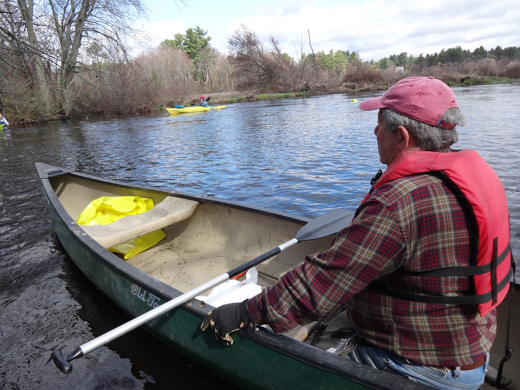. Members of the Shawsheen River Watershed Association took to the water on Clean Up Green Up. Photo by Mary Leach