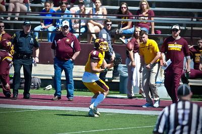 Jake Johnson throws two touchdowns as Yellow defeats Maroon in Central Michigan's annual spring game. (Sun photos by Paul Beroza)
