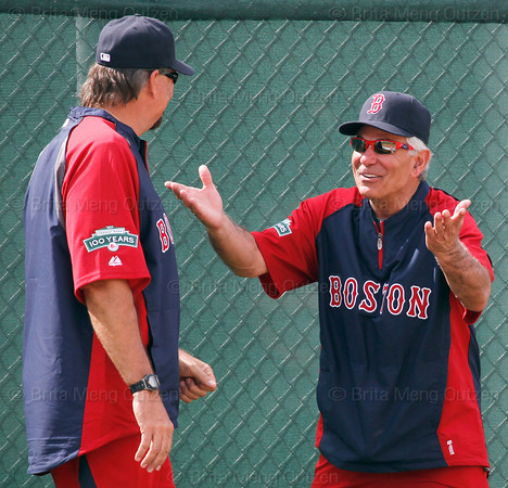 FORT MYERS, FL, Feb. 18, 2012: Boston Red Sox manager Bobby Valentine, right, talks with major league staff assistant Randy Niemann during informal workouts at Fenway South, the team's Spring Training and Player Development Complex. (Brita Meng Outzen/Boston Red Sox)