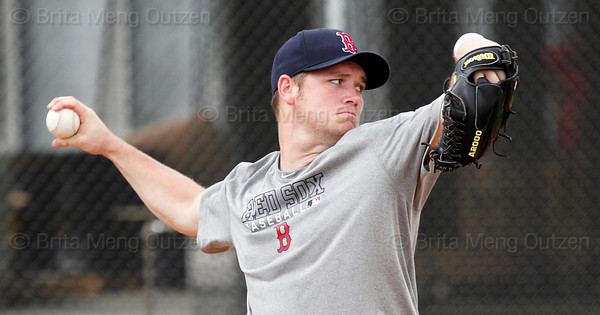 FORT MYERS, FL, Feb. 18, 2012: Boston Red Sox pitcher Alex Wilson throws a bullpen session during informal workouts at Fenway South, the team's Spring Training and Player Development Complex. (Brita Meng Outzen/Boston Red Sox)