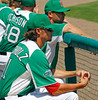 FORT MYERS, FL, March 17, 2012: Boston Red Sox players Clay Buchholz, left, and Daniel Butler watch second-inning action from the dugout during a split-squad Grapefruit League spring training game against the Baltimore Orioles at JetBlue Park at Fenway South. (Brita Meng Outzen/Boston Red Sox)