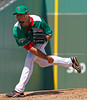 FORT MYERS, FL, March 17, 2012: Boston Red Sox pitcher Josh Beckett, wearing the team's green St. Patrick's Day uniform jersey and hat, follows through on a pitch to a Baltimore Orioles batter in the  third inning of a split-squad Grapefruit League spring training game against the Baltimore Orioles at JetBlue Park at Fenway South. (Brita Meng Outzen/Boston Red Sox)
