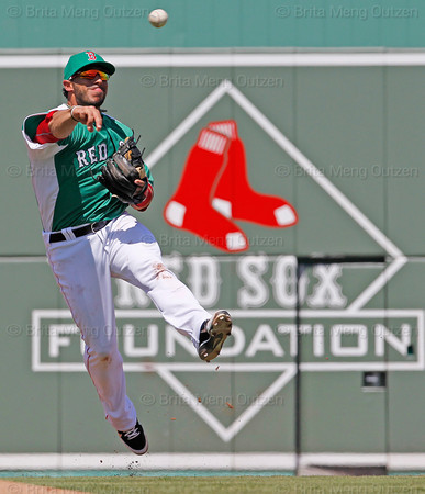FORT MYERS, FL, March 17, 2012: Boston Red Sox shortstop Mike Aviles throws out Baltimore Orioles batter Manny Machado to end the third inning of a split-squad Grapefruit League spring training game at JetBlue Park at Fenway South. (Brita Meng Outzen/Boston Red Sox)