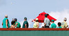 FORT MYERS, FL, March 17, 2012: Fans on the top deck of the Green Monster left field wall watch the home run hit by Boston Red Sox batter Cody Ross sail over their heads in the fifth inning of a split-squad Grapefruit League spring training game at JetBlue Park at Fenway South. (Brita Meng Outzen/Boston Red Sox)