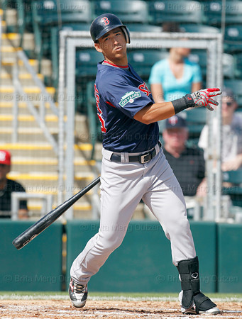 FORT MYERS, FL, March 7, 2012: Boston Red Sox batter Jose Iglesias watches as a baseball he hit curves foul in the third inning of a B game against the Minnesota Twins at Hammond Stadium. (Brita Meng Outzen/Boston Red Sox)