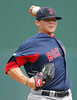 FORT MYERS, FL, March 7, 2012: Boston Red Sox pitcher Drake Britton throws a warmup pitch in the seventh inning of a B game against the Minnesota Twins at Hammond Stadium. (Brita Meng Outzen/Boston Red Sox)