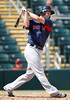 FORT MYERS, FL, March 7, 2012: Boston Red Sox batter Jeremy Hazelbaker follows through on a swing in the eighth inning of a B game against the Minnesota Twins at Hammond Stadium. (Brita Meng Outzen/Boston Red Sox)
