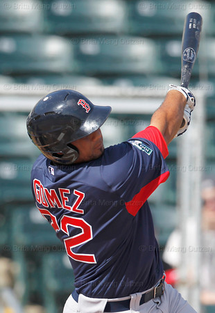 FORT MYERS, FL, March 7, 2012: Boston Red Sox batter Mauro Gomez swings at a baseball thrown by a Minnesota Twins pitcher in the second inning of a B game at Hammond Stadium. (Brita Meng Outzen/Boston Red Sox)