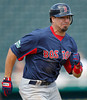 FORT MYERS, FL, March 7, 2012: Boston Red Sox batter Jason Repko runs to first base after hitting a pitch during the fifth inning of a B game against the Minnesota Twins at Hammond Stadium. (Brita Meng Outzen/Boston Red Sox)