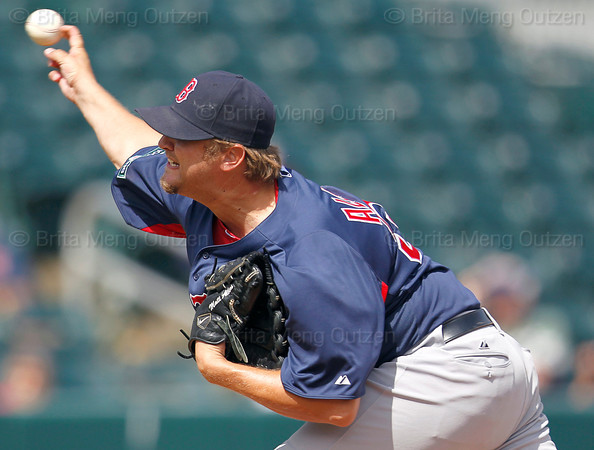 FORT MYERS, FL, March 7, 2012: Boston Red Sox pitcher Matt Albers lets loose a pitch to a Minnesota Twins in the fourth inning of a B game  at Hammond Stadium. (Brita Meng Outzen/Boston Red Sox)