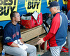 FORT MYERS, FL, March 7, 2012: Boston Red Sox pitching coach Bob McClure, right, talks with pitcher Jon Lester in the dugout after the first inning of a B game against the Minnesota Twins at Hammond Stadium. (Brita Meng Outzen/Boston Red Sox)