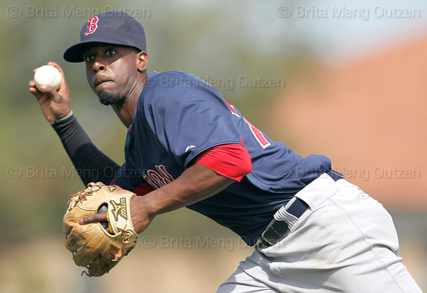 FORT MYERS, FL, March 7, 2012: Boston Red Sox second baseman Pedro Ciriaco prepares to throw the baseball to first base in the third inning of a B game against the Minnesota Twins at Hammond Stadium. (Brita Meng Outzen/Boston Red Sox)