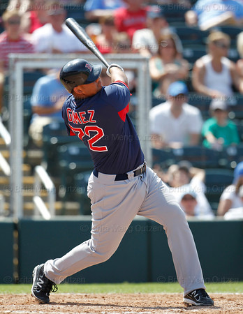 FORT MYERS, FL, March 30, 2012: Boston Red Sox batter Mauro Gomez hits a two-run home run off Minnesota Twins pitcher Brian Duensing in the eighth inning of a Grapefruit League spring training game at Hammond Stadium. (Brita Meng Outzen/Boston Red Sox)