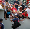 FORT MYERS, FL, March 30, 2012: Boston Red Sox player Nate Spears signs autographs for fans after a Grapefruit League spring training game against the Minnesota Twins at Hammond Stadium. (Brita Meng Outzen/Boston Red Sox)